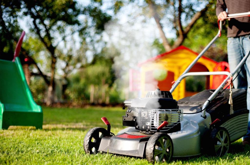 White-smoke-from-mower